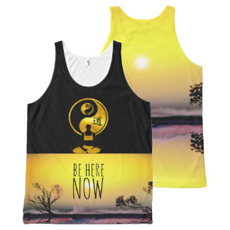 BE HERE NOW YOGA Meditation YinYang Mindfulness All-Over-Print Tank Top