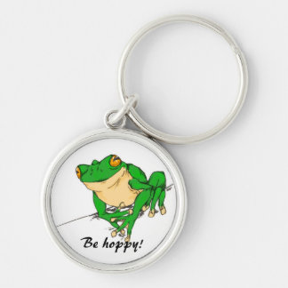 Be Hoppy Silver-Colored Round Keychain