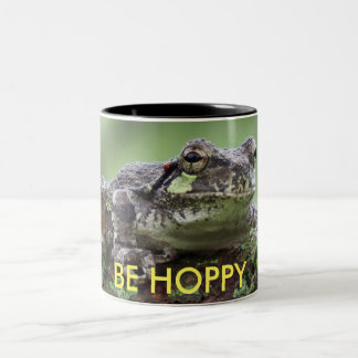 Be Hoppy Tree Frog Two-Tone Coffee Mug