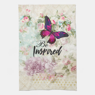 Be Inspired Quote & Pink Butterfly Shabby Collage Kitchen Towel