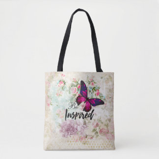 Be Inspired Quote & Pink Butterfly Shabby Collage Tote Bag