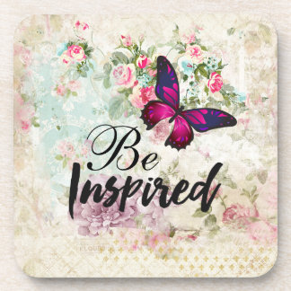 Be Inspired Quote & Pink Butterfly Vintage Collage Coaster