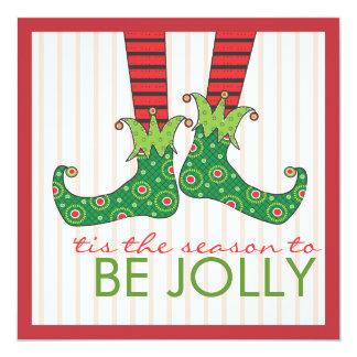 Be Jolly Fun Elf Feet Holiday Christmas Party Card