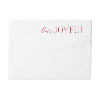 Be Joyful | Red and White Holiday Wrap Around Label
