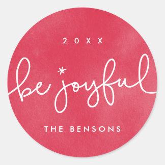 Be Joyful Red Watercolor Round Sticker