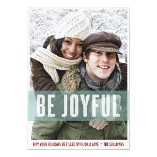 Be Joyful Stripes Pattern Holiday Photo Card