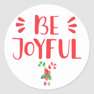 Be Joyful | Watercolor Candy Cane Christmas Classic Round Sticker