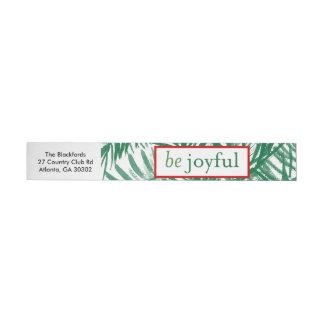 Be Joyful Watercolor Christmas Tree Label Wraparound Address Label