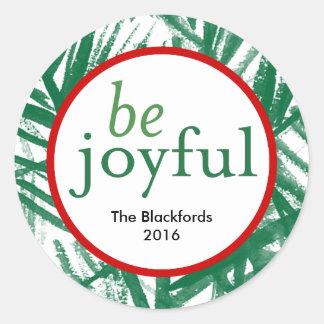 Be Joyful Watercolor Christmas Tree Round Round Sticker