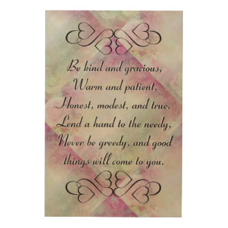Be Kind and Gracious Inspirational Floral Wall Art Wood Prints