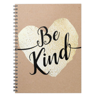 Be Kind Gold Heart Script Calligraphy Notebook
