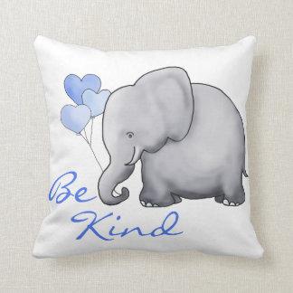 Be Kind Inspiring Cute Balloon Elephant Nursery Throw Pillow