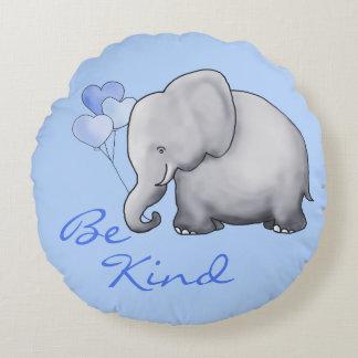 Be Kind Inspiring  Sweet Balloon Elephant Nursery Round Pillow