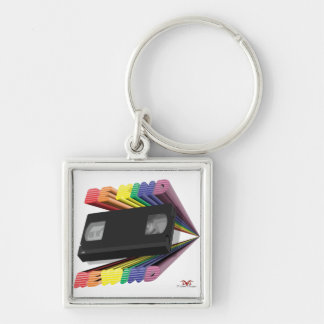 Be Kind Rewind Ver. 7 Silver-Colored Square Keychain