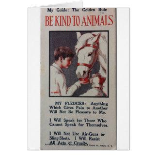 Be Kind t Animals Pledge, Card