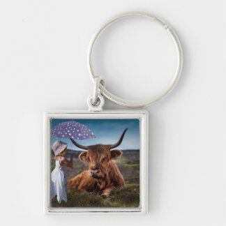 Be Kind to Animals Silver-Colored Square Keychain