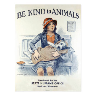 Be Kind to Animals USA vintage postcard