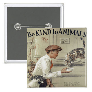 Be Kind to Animals - Vintage Poster 2 Inch Square Button