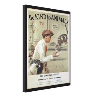 Be Kind to Animals - Vintage Poster Canvas Print