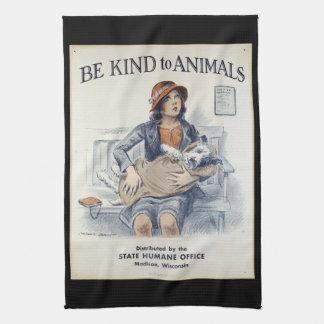 Be Kind to Animals - Vintage Poster Kitchen Towel