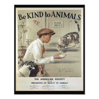 Be Kind to Animals - Vintage Poster Photograph