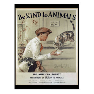 Be Kind to Animals - Vintage Poster Postcard
