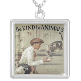 Be Kind to Animals - Vintage Poster Silver Plated Necklace