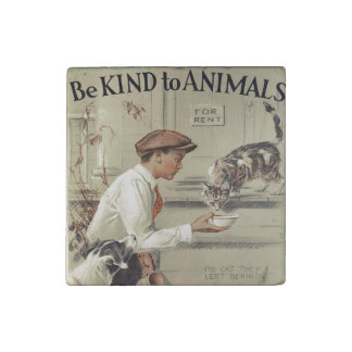 Be Kind to Animals - Vintage Poster Stone Magnets