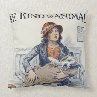 Be Kind to Animals - Vintage Poster Throw Pillow