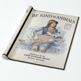 Be Kind to Animals - Vintage Poster Wrapping Paper
