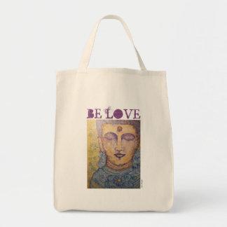 Be Love Buddha Art Grocery Tote Bag