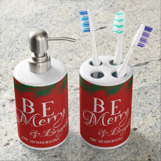 Be Merry & Bright (Red) with Name - Soap Dispenser And Toothbrush Holder