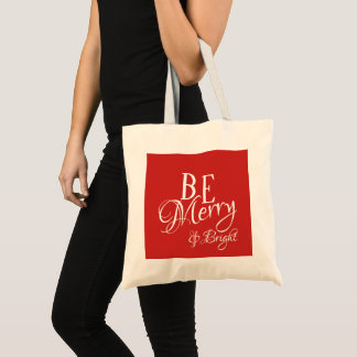 Be Merry & Bright Script - Red Color - Tote Bag