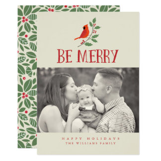 Be Merry Cardinal Christmas Photo Cards