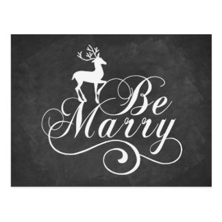 Be Merry Christmas card vintage chalkboard deer Postcard