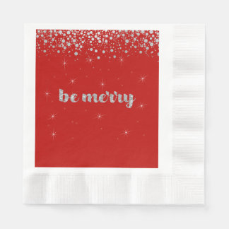 Be Merry, Christmas,  Silver Glitter, Sparkle Paper Napkins