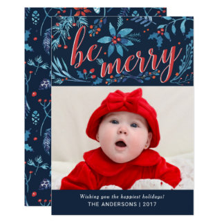 Be Merry Christmas Watercolor Holiday Foliage Card