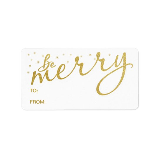 Be Merry Gold Holiday Handwritten Gift Tag Labels