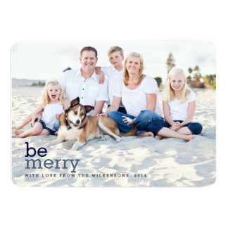 """Be Merry in Blue Christmas Two Photo Card 5"""" X 7"""" Invitation Card"""