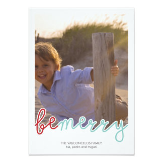 """Be Merry Photo Christmas Holiday Wishes Red Blue 5"""" X 7"""" Invitation Card"""