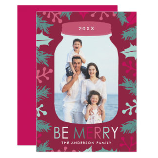 Be Merry Pine & Berries Ruby Christmas Photo Card