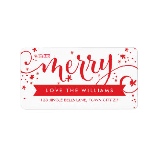 BE MERRY SCRIPT red holiday address label