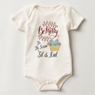 Be Merry Tis the Season to Sit and Knit Baby Bodysuit