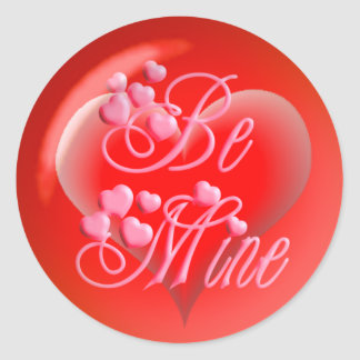 BE MINE BUBBLE HEART on red by SHARON SHARPE Classic Round Sticker