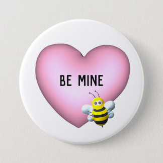 Be Mine Bumblebee with Pink Puffy Heart 3 Inch Round Button