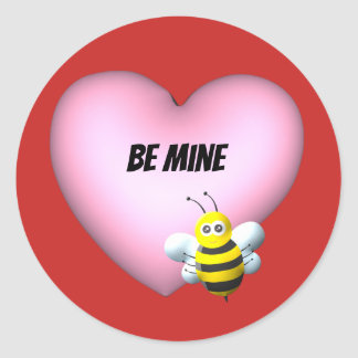 Be Mine Bumblebee with Pink Puffy Heart Classic Round Sticker