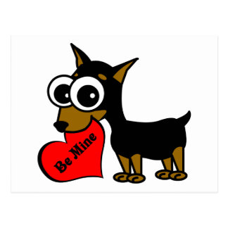 Be Mine Cute Miniature Pinscher Postcard
