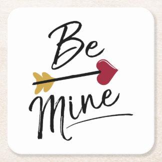Be mine Cute Valentines Square Paper Coaster