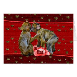 Be Mine Kissing Chimpanzees Card