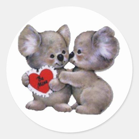 Be Mine Koalas Classic Round Sticker